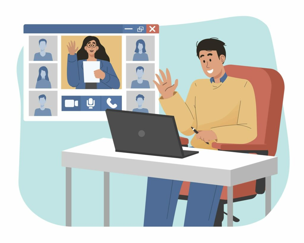 Illustration homme en visio conférence avec d'autres personne