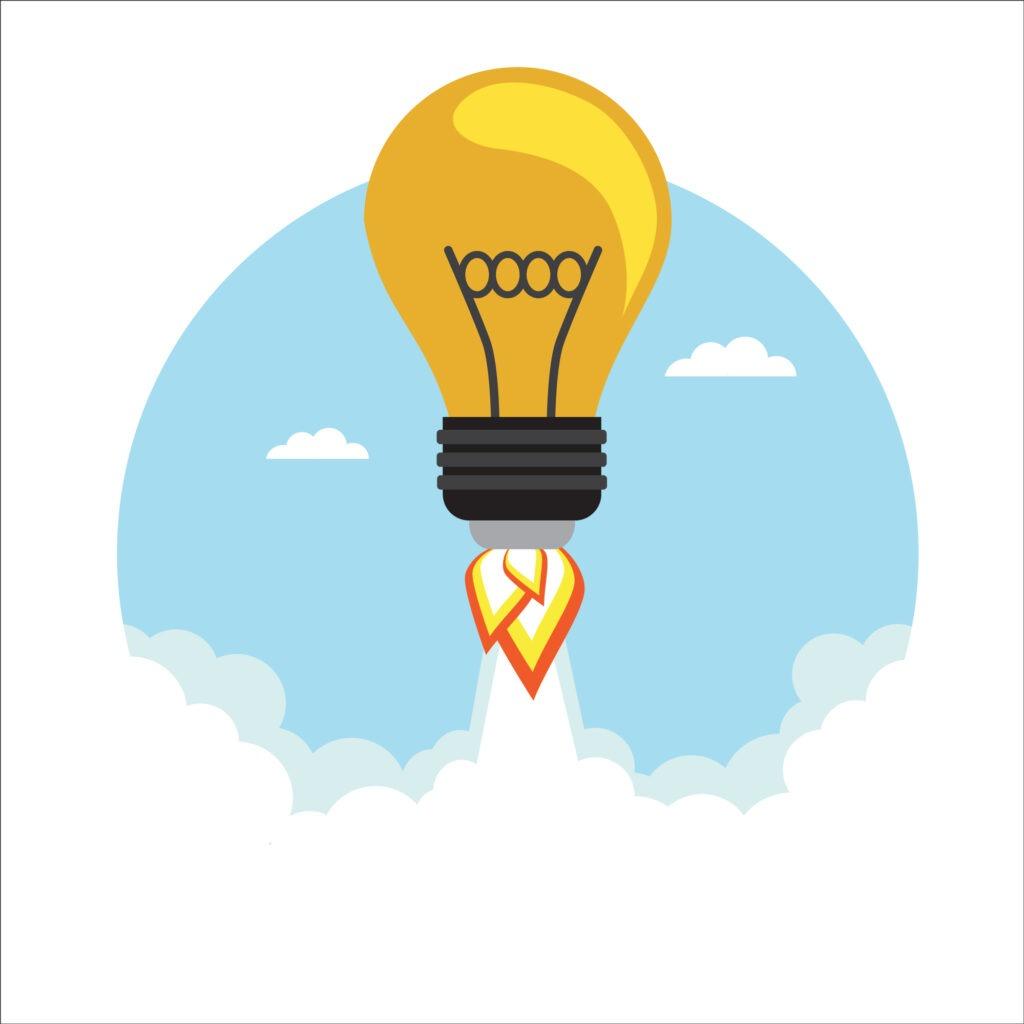 Illustration ampoule qui décolle