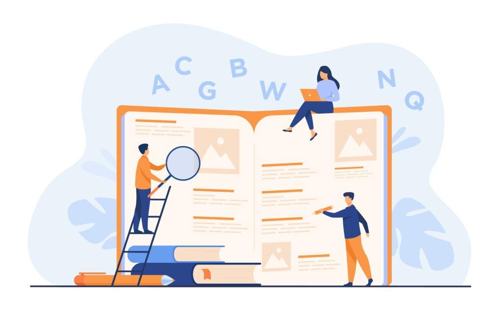 Illustration de personne qui apprennent dans un livre